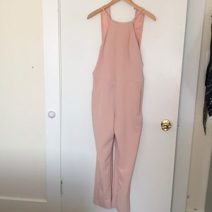 Blush apron neck straight leg jumpsuit